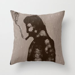guy in the rain Throw Pillow