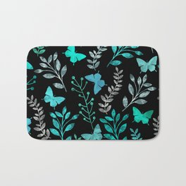 Watercolor flowers & butterflies IV Bath Mat