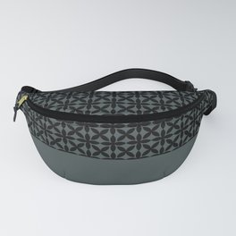 Black Square Petal Pattern on PPG Night Watch Pewter Green Fanny Pack