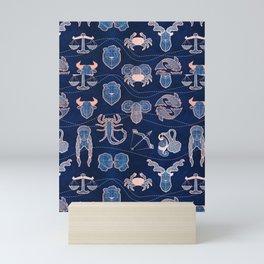 Geometric astrology zodiac signs // navy blue and coral Mini Art Print