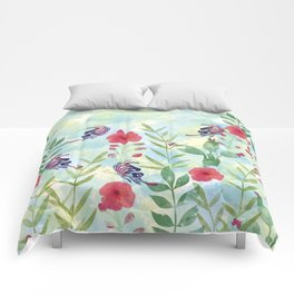 Watercolor floral garden Comforters