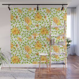 Elegant yellow green watercolor hand painted floral Wall Mural