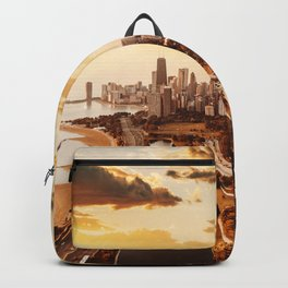 chicago skyline at dusk Backpack