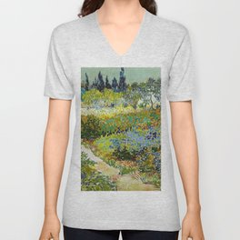1888-Vincent van Gogh-Garden at Arles, Flowering Garden with Path-88x102 Unisex V-Neck