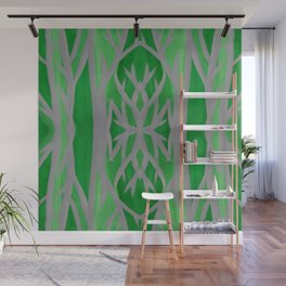 Grey and Green Tree Pattern Wall Mural