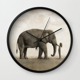 One Amazing Elephant - sepia option Wall Clock