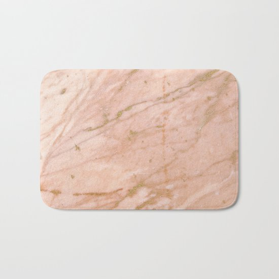 Pink marble with gold veins Bath Mat