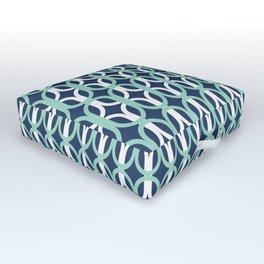 Retro Mid-Century Modern Geometric Oval Lattice Pattern Outdoor Floor Cushion