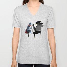 Piano lesson ( Doggy Art ) Unisex V-Neck