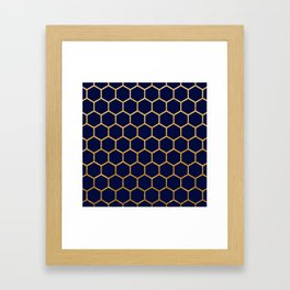 Dark blue on gold foil honeycomb pattern Framed Art Print