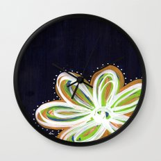 Navy and Gold Flower Wall Clock