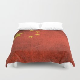 Old and Worn Distressed Vintage Flag of China Duvet Cover