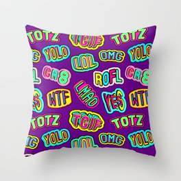 Colorful design with word patches. Throw Pillow
