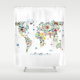 Animal Map of the World for children and kids Shower Curtain