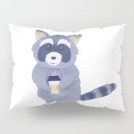 Raccoon with coffee Digital Art Pillow Sham