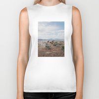 mountains Biker Tanks featuring Running Horses by Kevin Russ