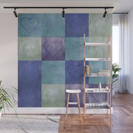 Blue Tiles with Hearts Wall Mural
