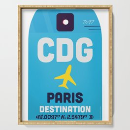 Paris airport CDG Blue sky Serving Tray
