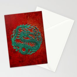 Wooden Jade Dragon Carving on Red Background Stationery Cards