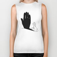 novelty Biker Tanks featuring Rabbit Talk to the Hand Shadow by Mobii