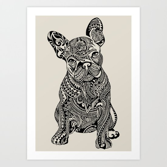 Polynesian Frenchie Art Print by Huebucket | Society6