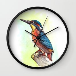 kingfisher / watercolor painting / fineliner Wall Clock
