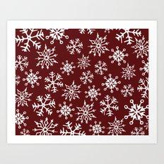 Snowflakes Pattern (Maroon) Art Print