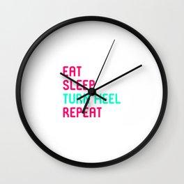 Eat Sleep Turn Heel Repeat Cute Training Wrestling Club Team Wall Clock