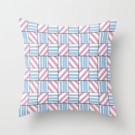 symetric tartan and gingham 6 -vichy, gingham,strip,square,geometric, sober,tartan Throw Pillow