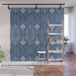 Lily Lake - Retro Floral Pattern Muted Blue Wall Mural