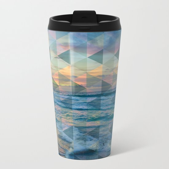 Beach mosaic Metal Travel Mug