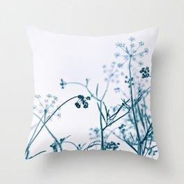Blue Elegant Floral Vegetation Abstract Throw Pillow