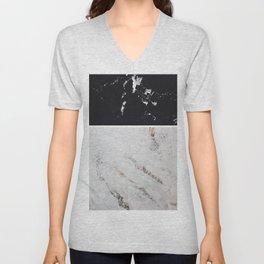 Black Marble & White Glitter Marble #1 #decor #art #society6 Unisex V-Neck