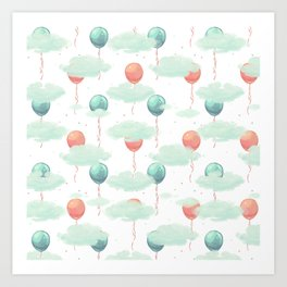 Modern coral teal watercolor clouds balloons pattern Art Print