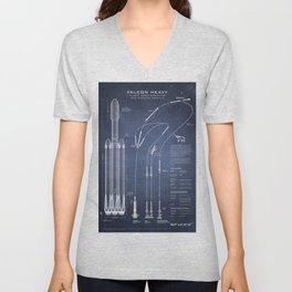 SpaceX Falcon Heavy Spacecraft NASA Rocket Blueprint in High Resolution (dark blue) Unisex V-Neck