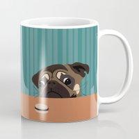 macaron Mugs featuring Le pug et le macaron by brocoli art print