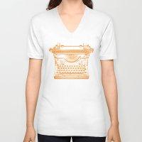 typewriter V-neck T-shirts featuring Typewriter by Jessica Slater Design & Illustration