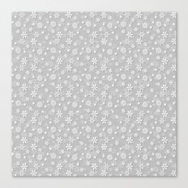 Festive Silver Grey and White Christmas Holiday Snowflakes Canvas Print
