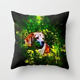 beagle dog flower field splatter watercolor Throw Pillow
