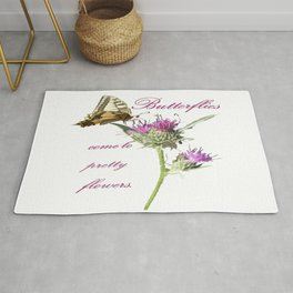 Butterflies Come To Pretty Flowers Korean Proverb Rug