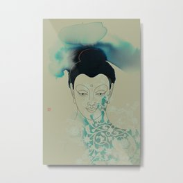 Blue Gautama Buddha Metal Print