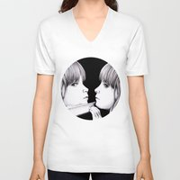 mirror V-neck T-shirts featuring MIRROR by Dianah B
