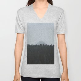 Minimalist Landscape Photo Tall Trees Mountain In The Background Unisex V-Neck