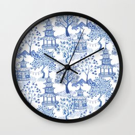 Pagoda Forest Blue and White Wall Clock