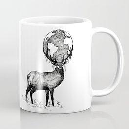 Deer God (Stag & Earth Illustration) - Black and white edition Coffee Mug