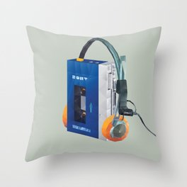 Sony Walkman TPS-L2 with MDR-5A Headphone Polygon Art Throw Pillow