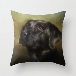 Black Lab Portrait Throw Pillow