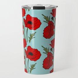 Red poppies pattern Travel Mug