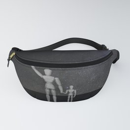 Wooden Anatomy Doll Father Points to Moon with Child Fanny Pack