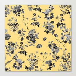 Black and White Floral on Yellow Canvas Print